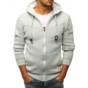 Svetlo sivý pánsky sveter so zapínaním na zips