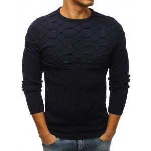 Jedinečný pánsky sveter tmavo modrej farby