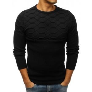 Čierny vzorovaný sveter pre pánov s okrúhlym výstrihom