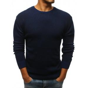 Elegantný pánsky sveter cez hlavu tmavo modrej farby