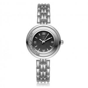 Štýlové dámske strieborné hodinky s čiernym ciferníkom a kryštálikmi