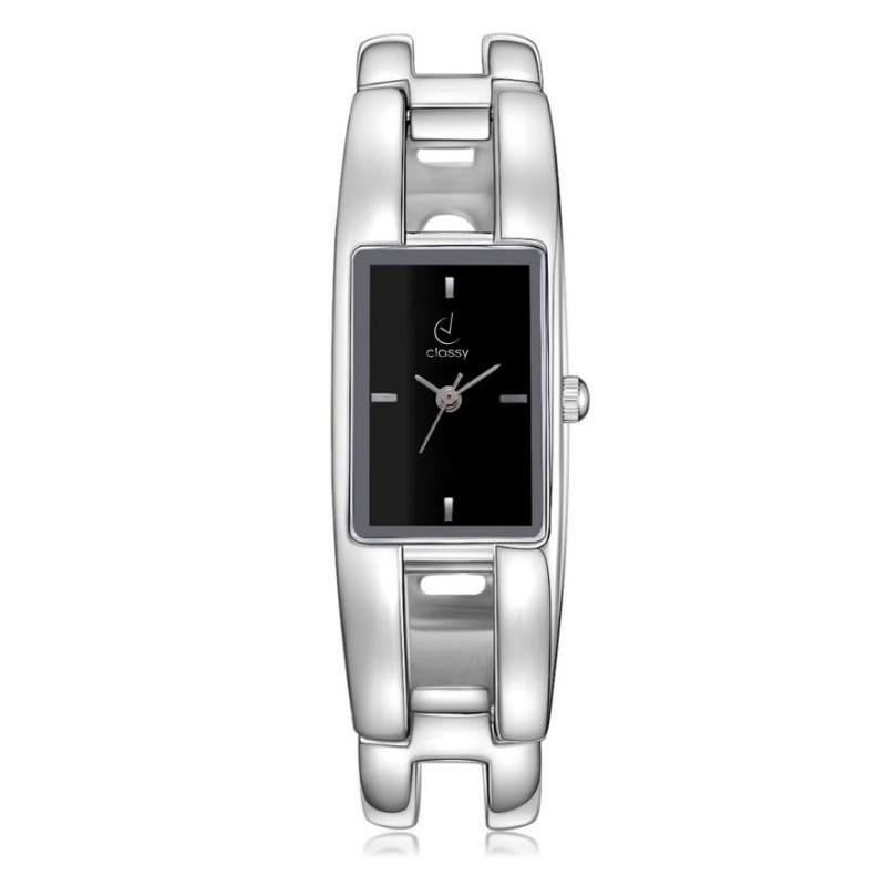 Strieborné dámske hodinky s obdĺžnikovým ciferníkom čiernej farby 3bfcc177d89