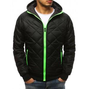 Čierna pánska prechodná bunda s farebným zipsom