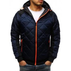 Štýlová pánska prechodná bunda v modrej farbe s kapucňou