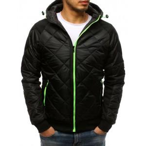 Pánska prechodná prešívaná bunda s kapucňou čierna