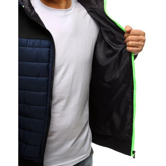 Pohodlná pánska prechodná bunda v modrej farbe s reflexným zipsom