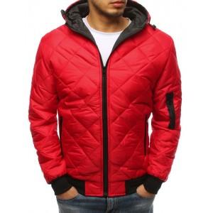 Pánska prešívaná bunda v červenej farbe s kapucňou