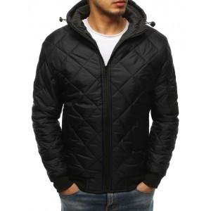 Pánska prechodná bunda v čiernej farbe s nastaviteľnou kapucňou