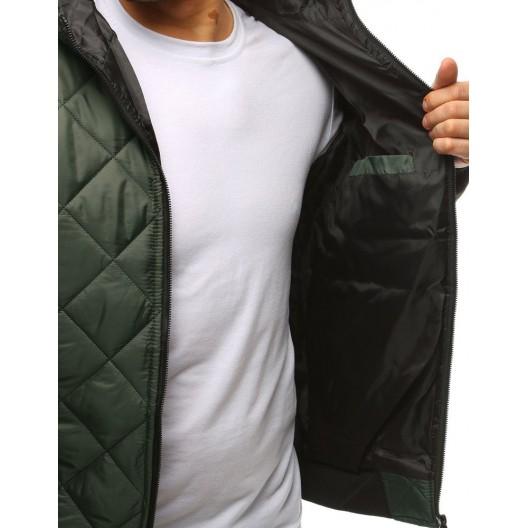 Prešívaná pánska prechodná bunda na jar v zelenej farbe