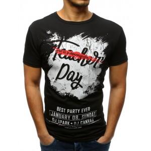 Čierne pánske tričko so štýlovou potlačou