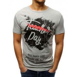 Pánske tričko v sivej farbe s nápismi