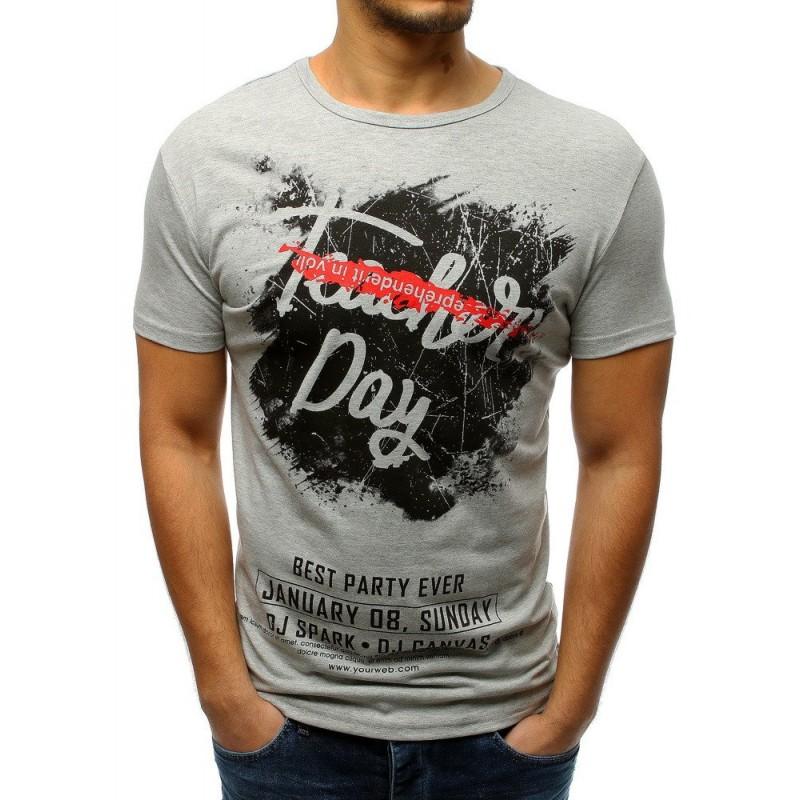 55082c8f6ace Pánske tričko v sivej farbe s nápismi