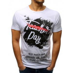 Moderné pánske tričko s potlačou v bielej farbe