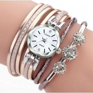Štýlové dámske hodinky s trendy ružovým metalickým remienkom