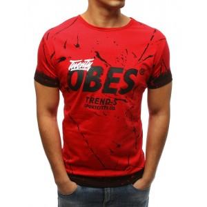 Pánske tričko s krátkym rukávom s potlačou v červenej farbe