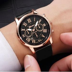 Dámske hodinky Classy s ružovo zlatým ciferníkom a čiernym remienkom