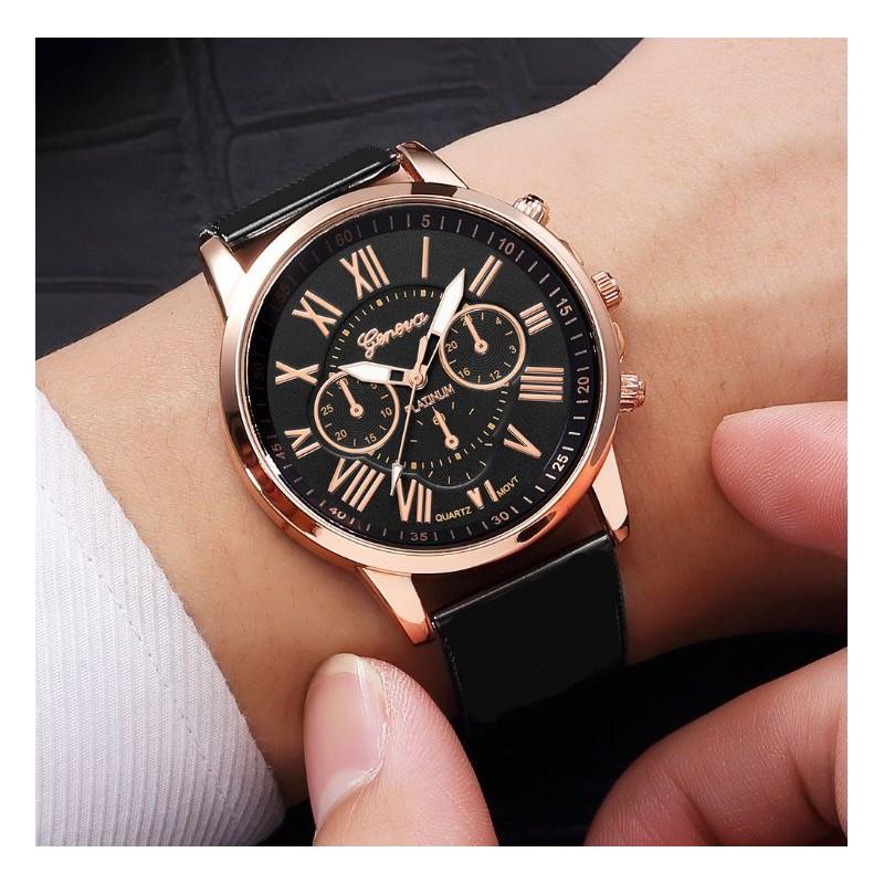 Dámske hodinky Classy s ružovo zlatým ciferníkom a čiernym remienkom ca196da149