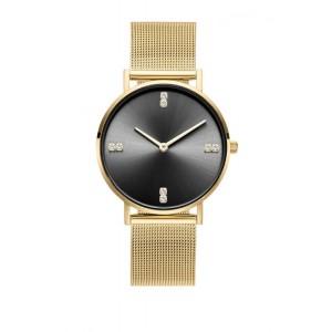 Luxusné dámske zlaté hodinky s čiernym ciferníkom so zirkónmi