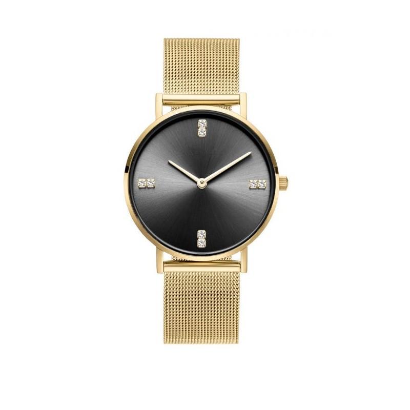 Luxusné dámske zlaté hodinky s čiernym ciferníkom so zirkónmi c08e7c438d