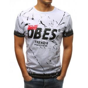 Pánske tričko so štýlovou potlačou v bielej farbe