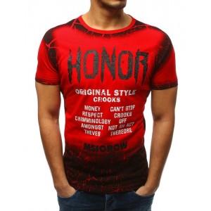 Pánske tričko s krátkym rukávom v červenej farbe s nápismi