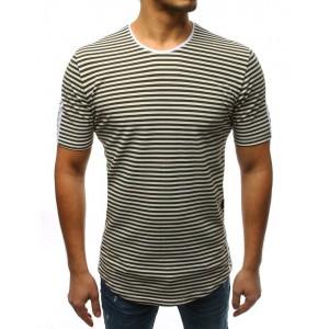 Pánske pruhované tričko v zelenej farbe