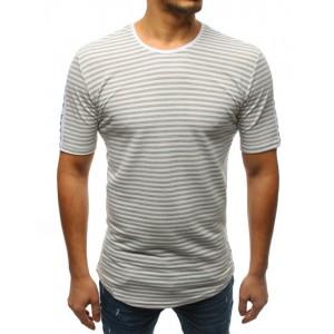 Pásikavé sivé pánske predĺžené tričko