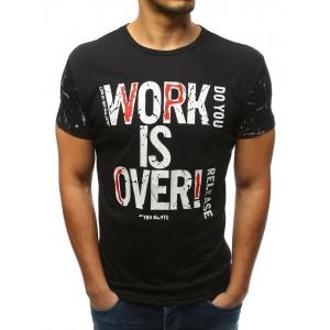 Pánske tričko v čiernej farbe s potlačou