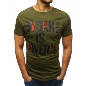 Štýlové tričko s krátkym rukávom v zelenej farbe