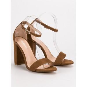 Hnedé sandále na vysokom opätku s viazaním na remienok