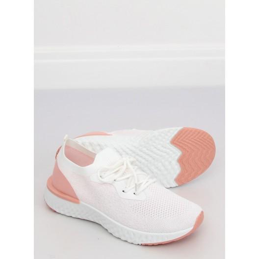 Biele športové dámske tenisky so svetlo ružovými časťami