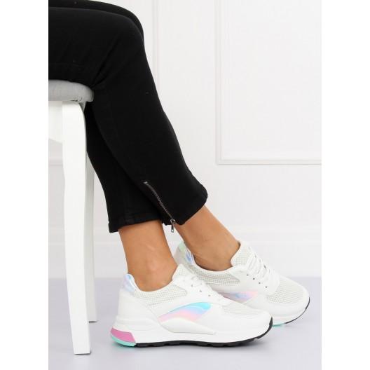 Biele športové dámske tenisky s holografickými a ružovými detailami