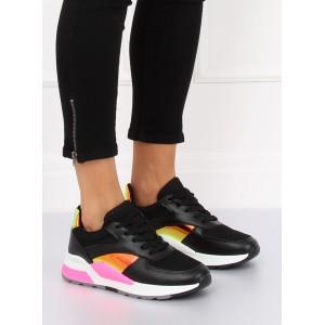 Dámske športové topánky čierne s farebnými detailami