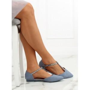 Modré semišové balerínky dámske