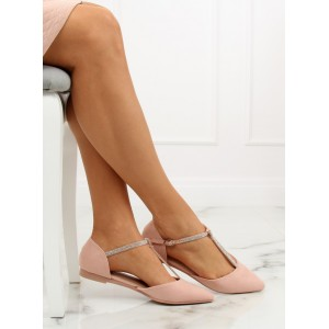 Dámske elegantné semišové balerínky svetloružovej farby