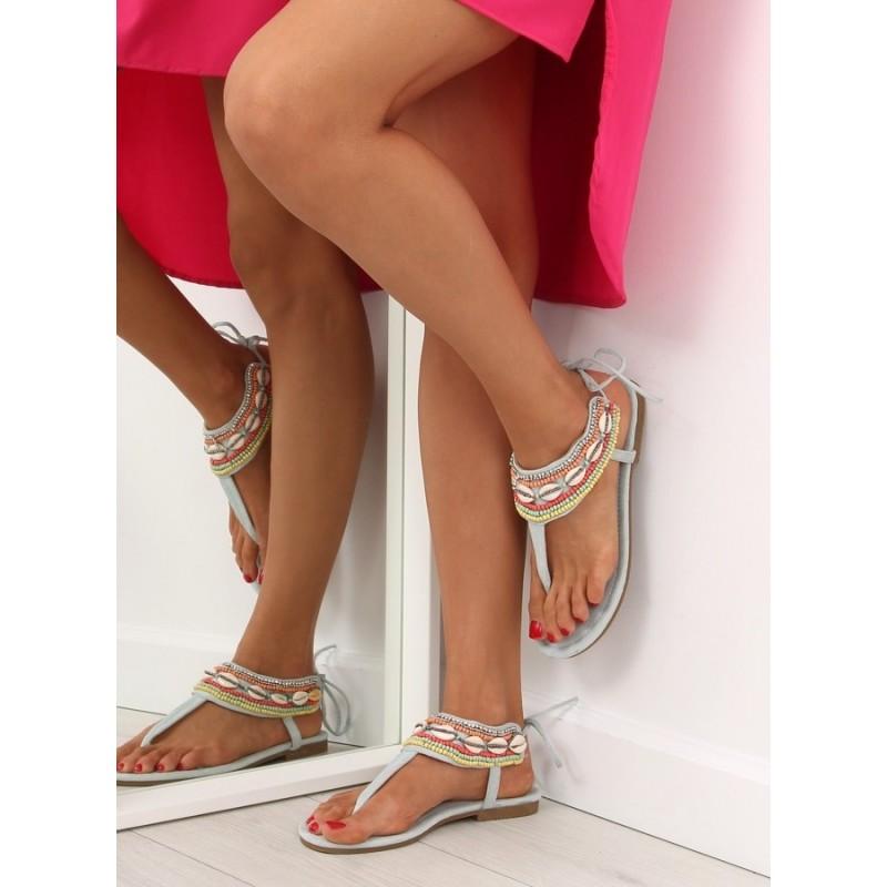 f7682bc68753 Dámske sandále na nízkom podpätku v modrej farbe
