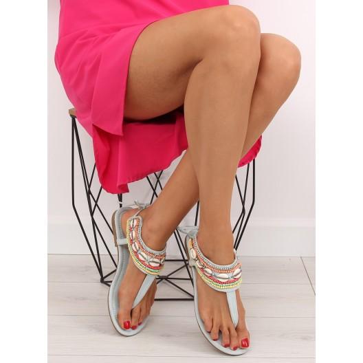 Dámske sandále na nízkom podpätku v modrej farbe