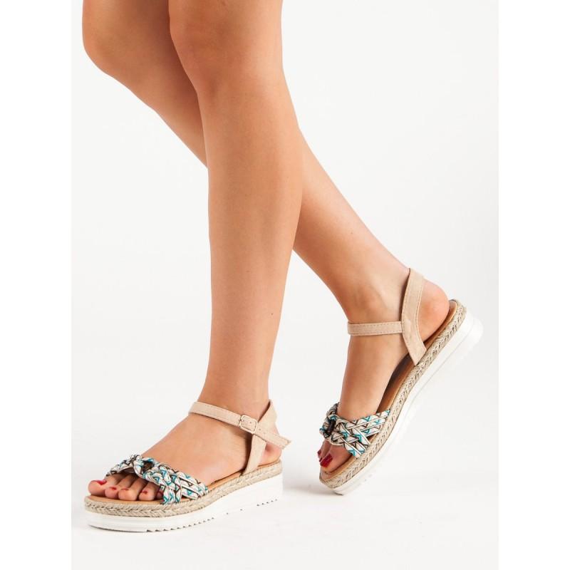 62cec6279ec5 Originálne dámske béžové letné sandále na platforme s viazaním