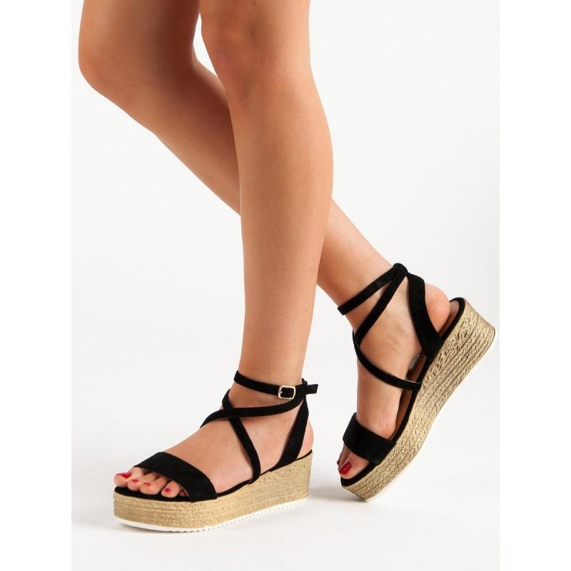 99dbf0440d Čierne sandále s viazaním okolo nohy na vysokej platforme