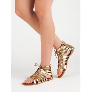 Trendy dámske nízke sandále gladiátorky v zlatej farbe so zipsom
