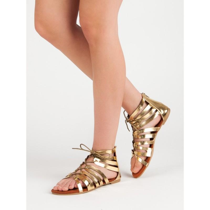 1f56d7a7d434 Trendy dámske nízke sandále gladiátorky v zlatej farbe so zipsom