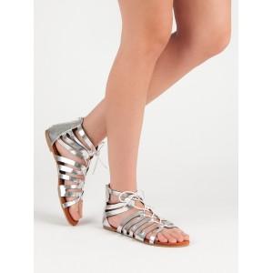 Strieborne sandále gladiátorky so zadným zipsom a šnúrkou