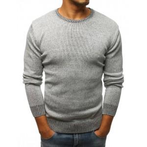 Svetlo sivý pánsky sveter s okrúhlym výstrihom