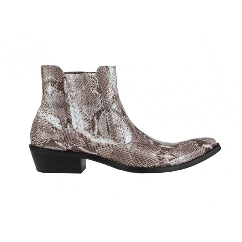 817a98f85 Štýlové westernové čižmy z pravej kože so vzorom hadia koža béžovej ...