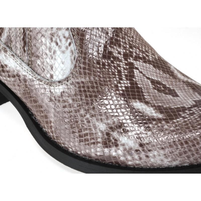 c32445ef562f Pánske kožené kovbojské čižmy so vzorom hadia koža béžovej farby ...