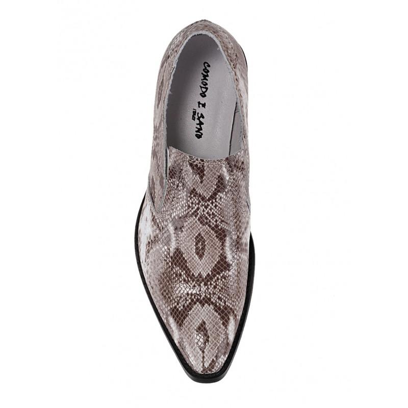 0dda8118b0ad Pánske kožené kovbojské čižmy so vzorom hadia koža béžovej farby -  fashionday.eu