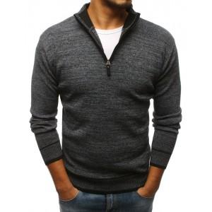 Tmavo sivý pánsky sveter s vysokým golierom na zips