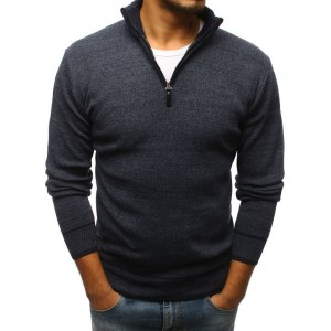 Pánsky sveter s vysokým golierom sivej farby