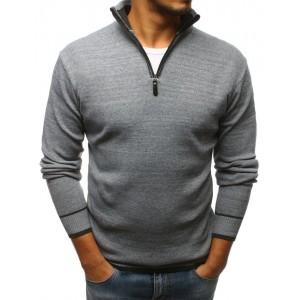 Elegantný pánsky sveter svetlo sivej farby so zipsom