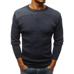 Pánsky sveter s okrúhlym výstrihom tmavo sivej farby